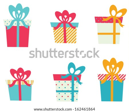Set of Gift Boxes For Christmas  - stock vector