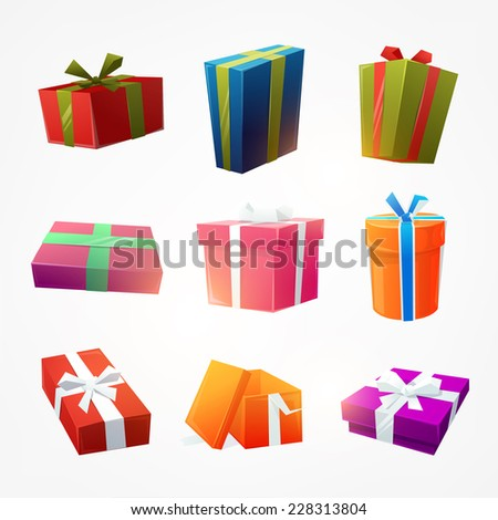 Set of Gift Boxes for Christmas Design - stock vector