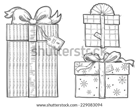 Set of gift boxes. Vector set of  of gift boxes with bows at retro engraving style.  - stock vector