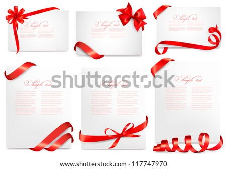 Set of gift card notes with red bows with ribbons. Vector illustration. - stock vector