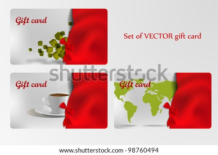 Set of gift cards decorated with ribbon - stock vector