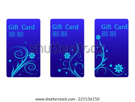 Set of gift cards with floral ornament - stock vector