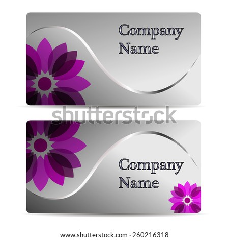 Set of gift cards with flower  - stock vector