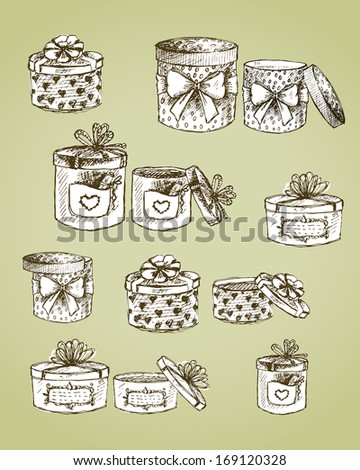 Set of gift present boxes with bows, ribbon, hearts and labels vector illustration - stock vector