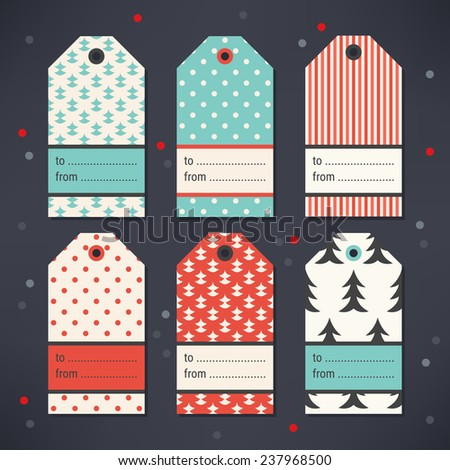 Set of Gift Tags with Christmas Trees, Polka Dot and Stripes in Red, Turquoise, Grey and Beige. Perfect for Christmas, New Year's, birthday presents and gifts. Vector illustration. - stock vector