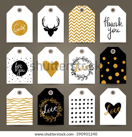 Set of gift tags with hand drawn design elements. Vector templates. Trendy patterns and textures. - stock vector
