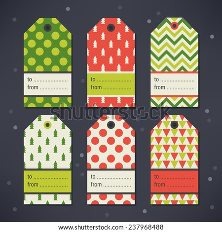 Set of Gift Tags with Polka Dot, Christmas Trees, Chevron and Triangles in Green, Grey, Red and Beige. Perfect for Christmas, New Year's, birthday presents and gifts. Vector illustration. - stock vector