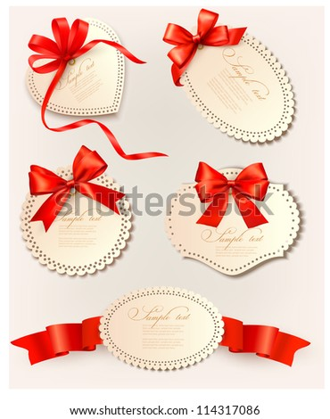 Set of gift tags with red gift bows with ribbons. Vector illustration.