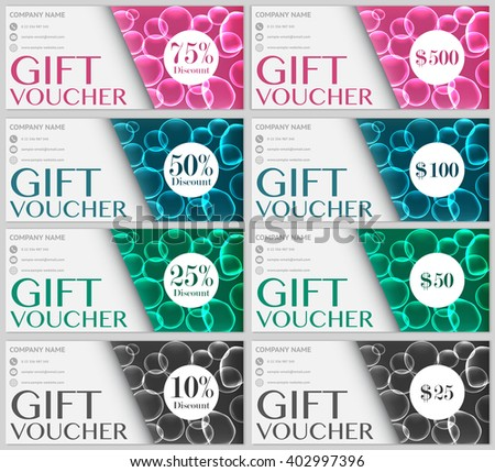 Set gift voucher template four colors stock vector 402997396 set of gift voucher template with four colors soap bubbles patterns discount and value version yelopaper Images