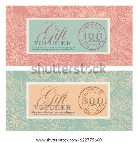 Set gift vouchers vintage style floral stock vector 622775660 set of gift vouchers in a vintage style with floral background and a stamp gift negle Gallery