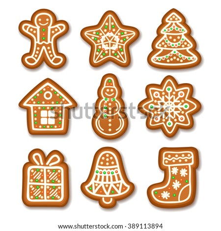Set of Gingerbread Christmas cookies decorated icing. Holiday cookie in shape of Christmas Xmas tree, star, bell, sock, gingerbread men, snowflake, snowman and gift. Vector illustration - stock vector