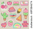 set of girl fashion patches ...