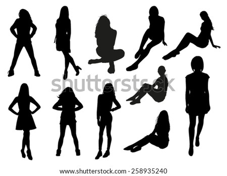 Set of girl silhouettes - stock vector
