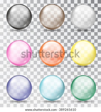Set of glass balls on a transparent background. Isolated objects. Multi-colored glass balls. Vector illustration.  - stock vector