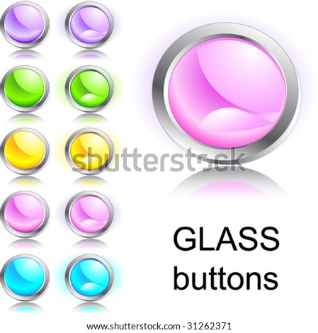 Set of glass buttons
