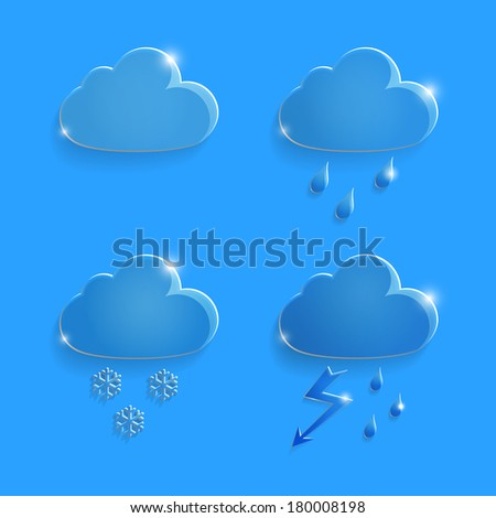 Set of glass icons rain clouds on an blue background - stock vector