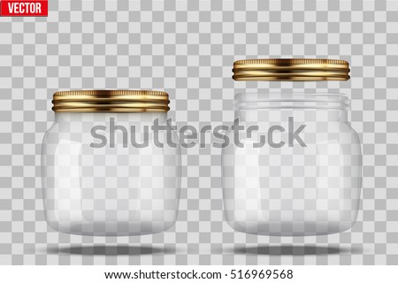 Set of Glass Jars for canning and preserving. With closed and open cover. Vector Illustration isolated on transparent background.