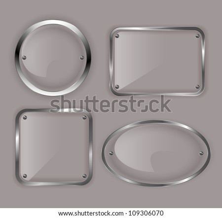 set of glass plates in metal frames illustration - Metal Photo Frames