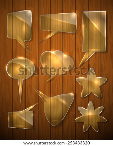 set of glass shapes on a wooden background. Tips. Isolated objects. Vector. - stock vector