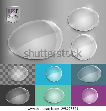 Set of glass speech shape icons with soft shadow on gradient background . Vector illustration EPS 10 for web.