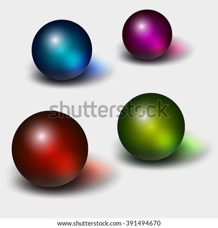 Set of glass spheres - stock vector