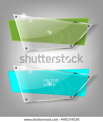 Set of glass transparent vector banners. Bright vector design elements. Eps10 vector illustration - stock vector