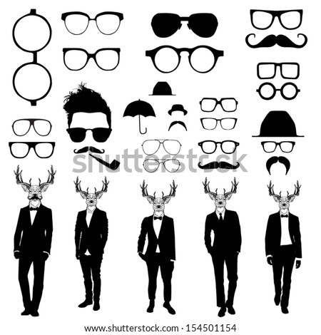 Set of glasses and men with deer heads - stock vector