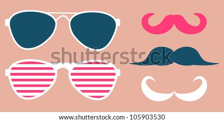 Set of glasses and mustaches - stock vector