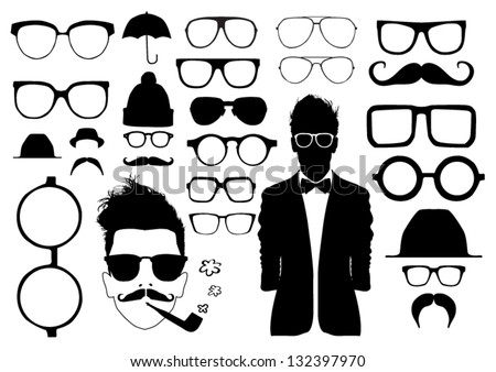 Set of glasses and other accessory - stock vector