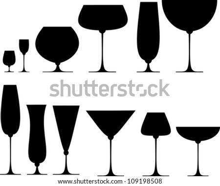 Set of glasses for alcoholic drinks. Vector Illustration - stock vector