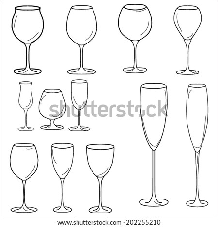 Set of glasses for red wine, white wine, sherry, cognac, champagne on a white background - stock vector