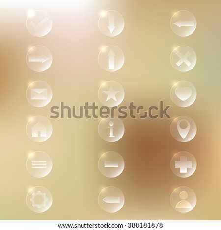 Set of glassy icons. Vector illustration - stock vector