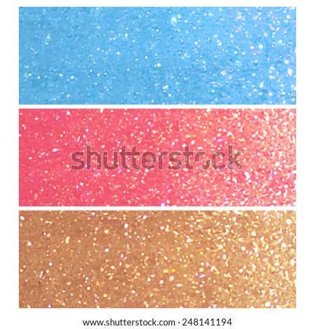 Set of glitter blue, red and golden horizontal banners. Brilliance metallic vector design elements with sparkles for card, scrapbook, print, decoration, website. - stock vector