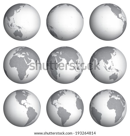 Set of globe icons vector illustration - stock vector