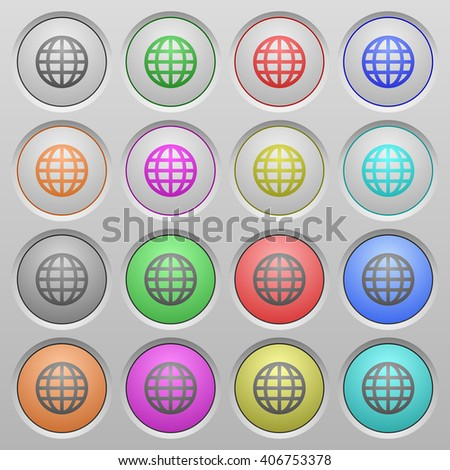 Set of globe plastic sunk spherical buttons. - stock vector