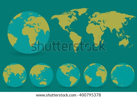 Set of globes with different continents and  a map earth - stock vector