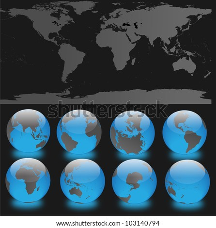 Set of 8 globes with world map - stock vector