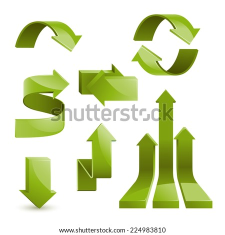 Set of glossy arrows, vector illustration - stock vector