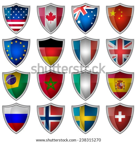 Set of glossy badges or labels with flags popular countries/design for your creative editing/vector illustration - stock vector