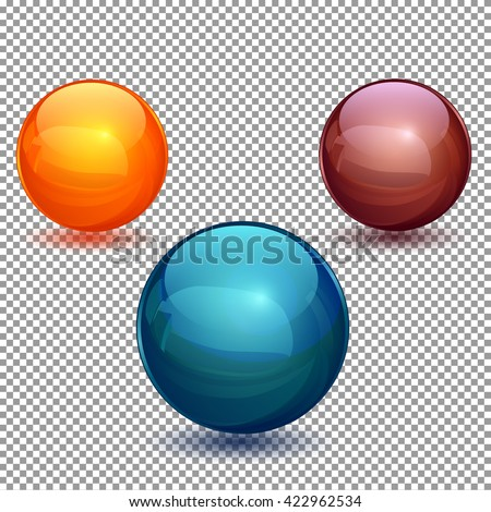 Set of glossy balls on a transparent background. Isolated objects. Vector illustration - stock vector