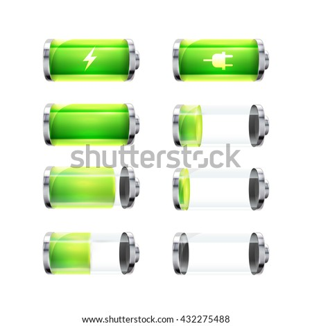 Set of glossy battery icons with different charge level and power signs isolated on white - stock vector