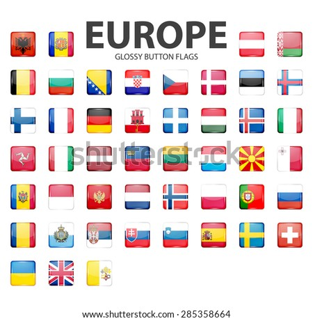 Set of glossy button flags - Europe. Original colors. Vector icons. EPS10 illustration.  - stock vector