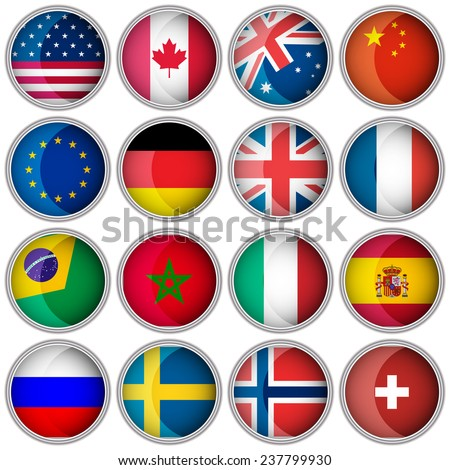 Set of glossy buttons or icons with flags popular countries/editable vector illustration