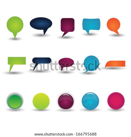 Set of glossy Buttons, signs, symbols, popups, chat icons, chat balloons. (Vector EPS10) - stock vector
