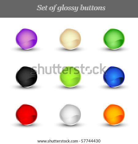 Set of glossy buttons. Vector illustration - stock vector