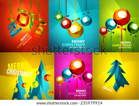 Set of Glossy Christmas baubles trees, Happy New Year greeting card template - stock vector