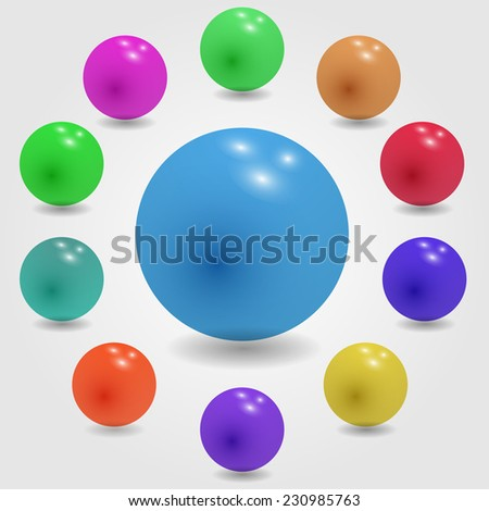 Set of glossy colored balls on grey background. Vector illustration.