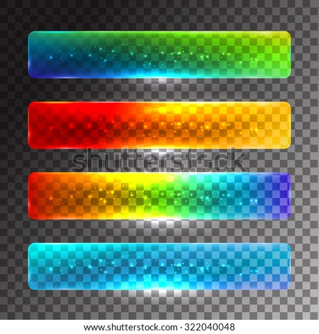 Set of glossy colored web buttons. Vector illustration - stock vector