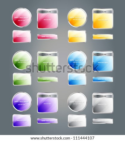 Set of glossy colorful assorted vector badges and buttons