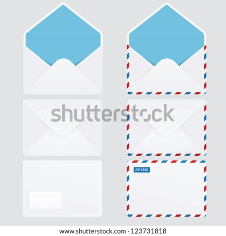 Set of 6 glossy envelopes - stock vector